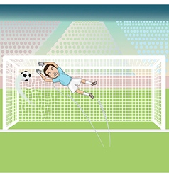 A goal keeper failed saving the soccer ball thus vector