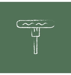 Sausage on the fork icon drawn in chalk vector