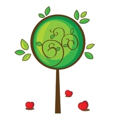 Isolated apple tree on white vector