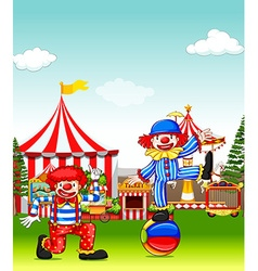 Two jesters performing in the amusement park vector