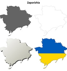Zaporizhia blank outline map set vector