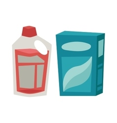 Plastic detergent container and paper box flat vector