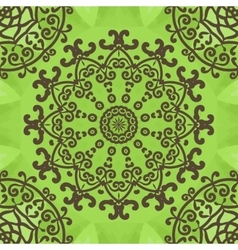 Floral seamless pattern on green texture hand vector