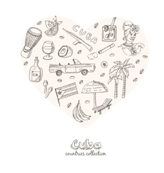 Hand drawn doodle cuba travel set vector