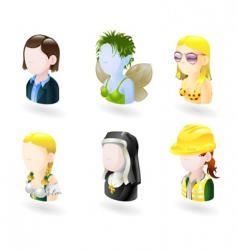 avatar people internet icon set vector image