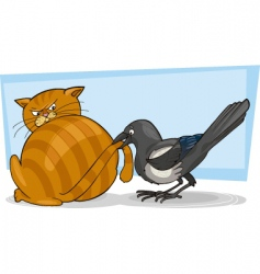 cat and magpie vector image vector image