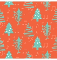Christmas trees seamless red pattern vector