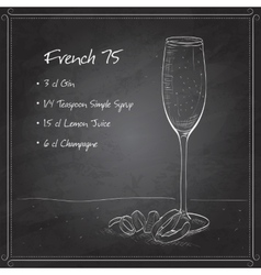 Cocktail French 75 on black board vector image vector image