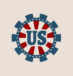 Cog wheel with usa flag elements vector