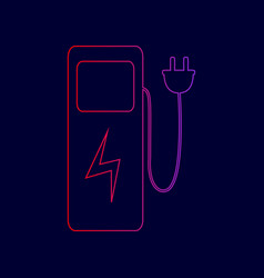 electric car charging station sign line vector image