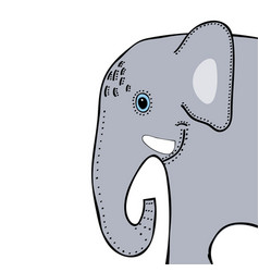 elephant cute funny cartoon head vector image