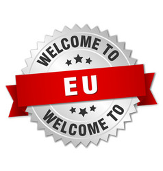 eu 3d silver badge with red ribbon vector image vector image