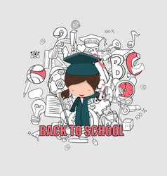 girl graduated pupils back of school background vector image vector image