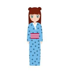 girl japanese doll traditional dress vector image
