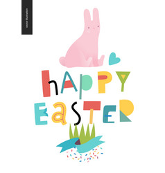 Happy eater lettering and bunny vector