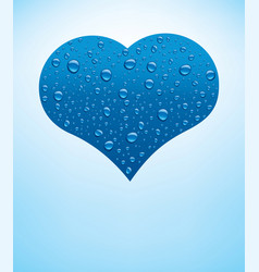 Heart with fresh blue water drops vector