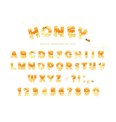 honey font design glossy sweet abc letters and vector image vector image