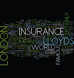 Lloyds of london text background word cloud vector