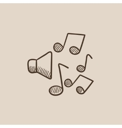 Loudspeakers with music notes sketch icon vector image