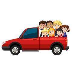 Many children riding on red truck vector image