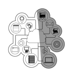 Media and cloud computing design vector