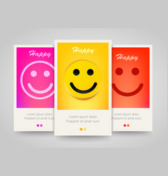 Modern colorful vertical smiling face banners vector