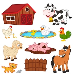 set of isolated farm animals vector image vector image