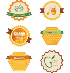 Set of six icons for rosh hashana jewish holiday vector