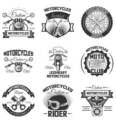 Set of vintage motorcycle emblems labels vector