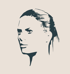 Silhouette of a female head face profile view vector