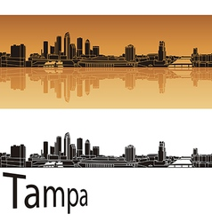 Tampa skyline in orange background vector image vector image