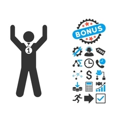 Winner Hands Up Flat Icon with Bonus vector image vector image