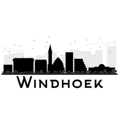 Windhoek city skyline black and white silhouette vector