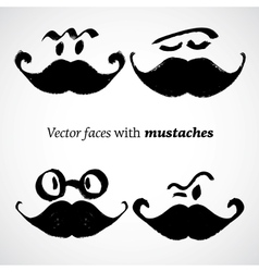 Mustaches with faces set vector