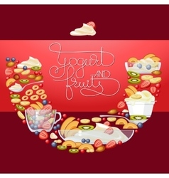 Yogurt fruit and berry round banner vector