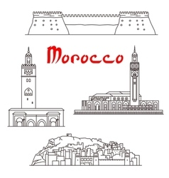 Historic buildings and sightseeings of morocco vector