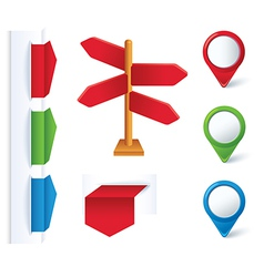 set of color arrows and design elements vector image