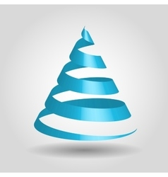 Blue glossy ribbon in a shape of christmas tree vector