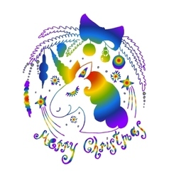 rainbow unicorn vector image