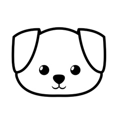 face dog adorable pedigree outline vector image