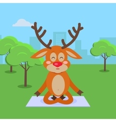 Yoga exercises in city park cartoon concept vector