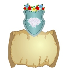 Shield with flowers and parchment vector