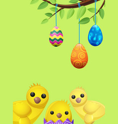 Set of easter chicken and suspended color eggs vector