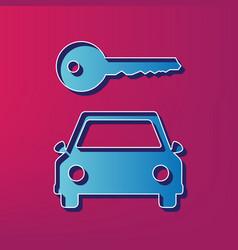 car key simplistic sign  blue 3d printed vector image