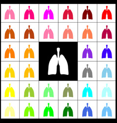 Human anatomy lungs sign  felt-pen 33 vector