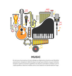 Music instruments formed in heart with text vector