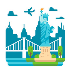 Flat design liberty statue new york vector