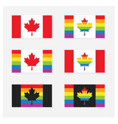 Canada rainbow pride flags set icons with shadow vector