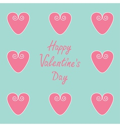 Pink hearts happy valentines day card vector
