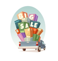 Heap of boxes on pickup with big sale text vector